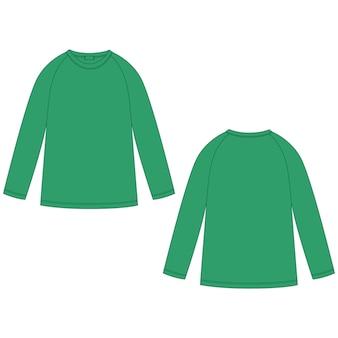 緑色のラグランスウェットシャツのテクニカルスケッチ。子供のためのカジュアルな服は、ジャンパーデザインテンプレートを着用します。