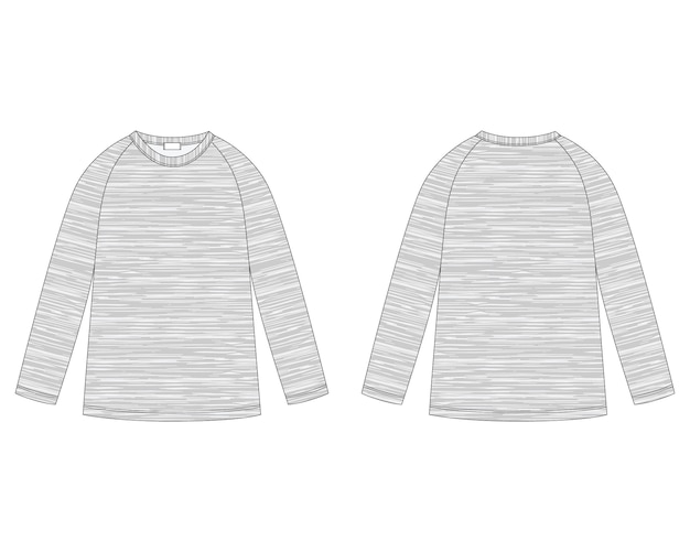 メランジ生地のラグランスウェットシャツのテクニカルスケッチ。子供服のジャンパーのデザインテンプレート。