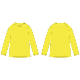 黄色のラグランスウェットシャツのテクニカルスケッチ。ジャンパーデザインテンプレート。子供のカジュアルウェア。正面図と背面図。
