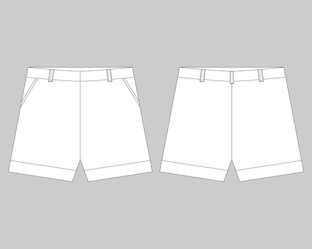 Technical sketch shorts design template