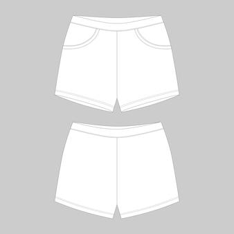 テクニカルスケッチスポーツショーツパンツデザインテンプレート。伸縮性のあるパジャマショーツ。背面図と正面図。