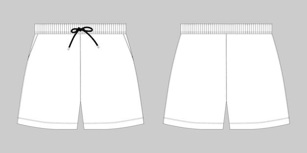 テクニカルスケッチスポーツショーツパンツデザインテンプレート。灰色の背景にファッションベクトルイラスト