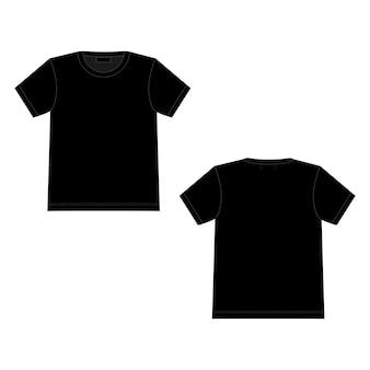 Technical sketch t shirt in black color. unisex underwear top design template.