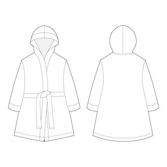 Technical sketch unisex bathrobe isolated on white background.
