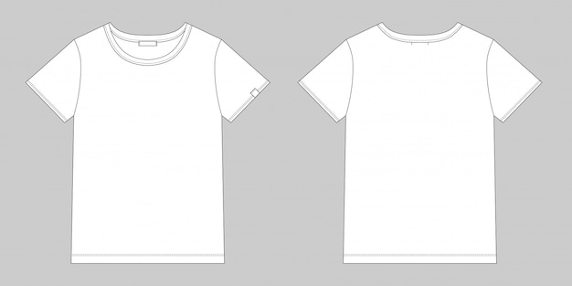 Technical sketch unisex t shirt. blank t-shirt design. front and back vector.