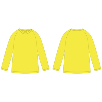 Technical sketch of yellow raglan sweatshirt. jumper design template. children's casual wear. front and back view.