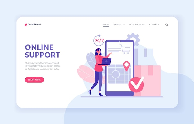 Technical support 24 7. landing page website banner template. noctidial customer support concept. female character operator with headphones and laptop accepts order specifies client address