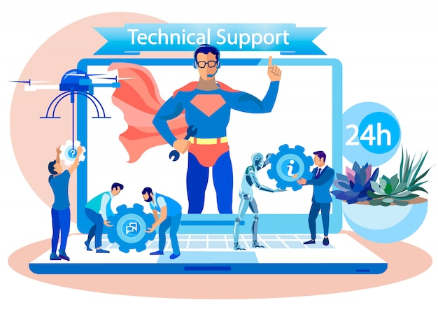 Technical support 24 hours day, cartoon flat.