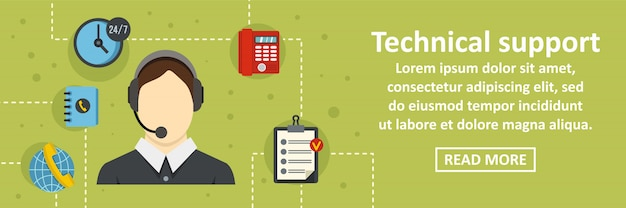 Technical support banner horizontal concept