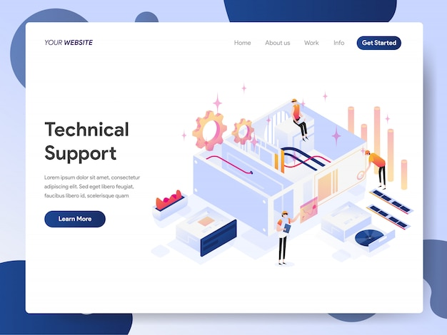 Technical support banner of landing page