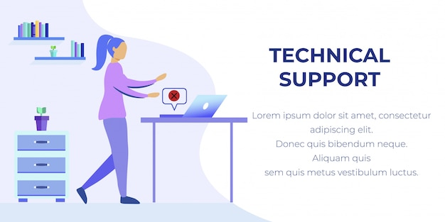 Technical support banner with woman found pc error