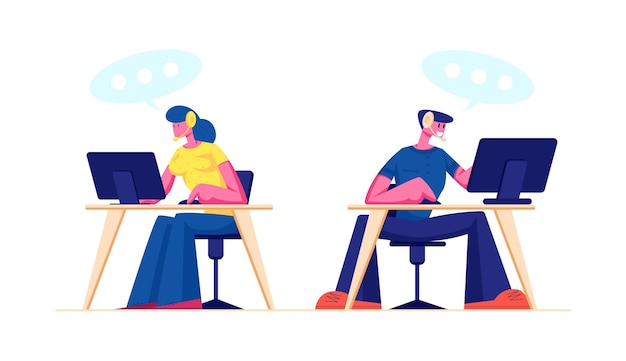 Technical support, call center or customer service staff in headset working on computers. cartoon flat illustration