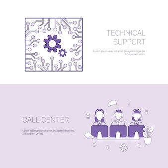 Technical support and call center service concept template web banner with copy space