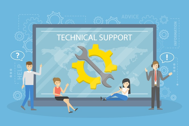 Technical support concept. idea of customer service. support clients and help them with problems. providing customer with valuable information.   illustration