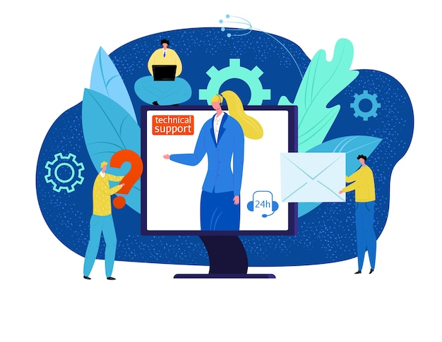 기술 지원 개념 그림. 온라인 고객 도움, 컴퓨터의 헤드셋 운영자. 전문적인 지원. 전화로 헬프 데스크 컨설턴트. 고객은 기술 센터에 문의하십시오.
