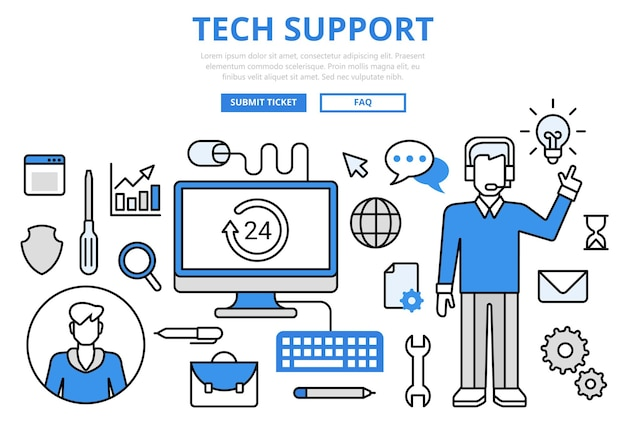 Technical support customer tech hotline concept flat line art  icons.
