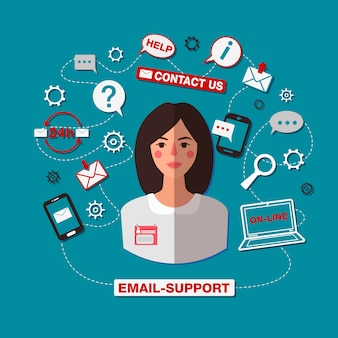 Technical support. email support. online service. woman operator. online assistance. 24 hour support. internet service.
