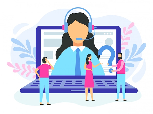 Technical support. female hotline operator,  customer support call center and online advice service  illustration