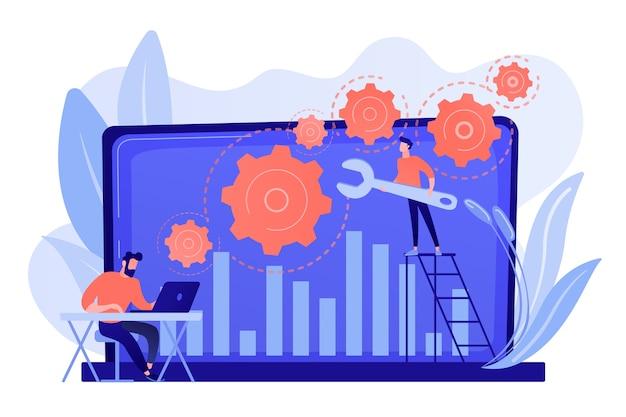 컴퓨터 하드웨어 및 소프트웨어 수리를 담당하는 기술 지원 담당자. 문제 해결, 문제 해결, 문제 확인 개념