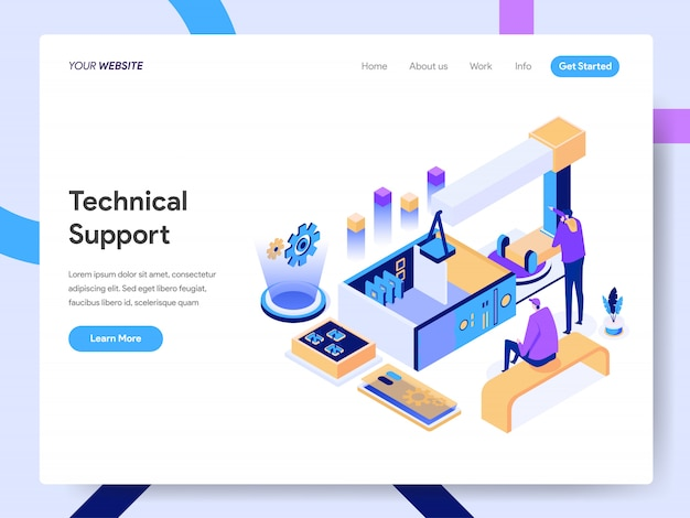 Technical support isometric illustration for website page