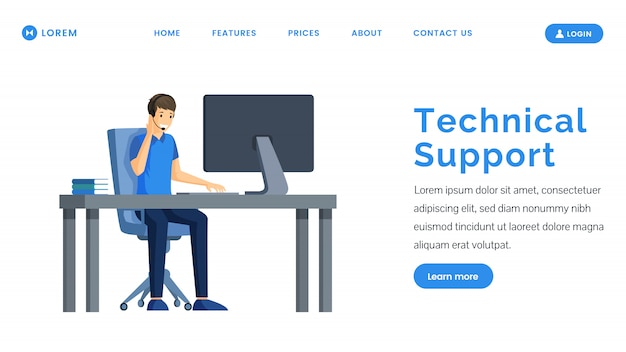 Technical support landing page. call center and service web banner design.