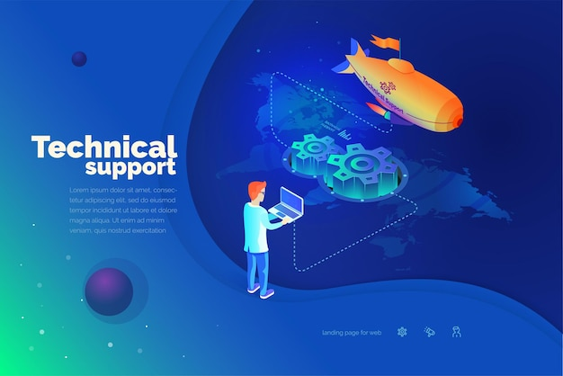 Technical support a man interacts with a technical support system global map of the world technical support worldwide modern vector illustration isometric style