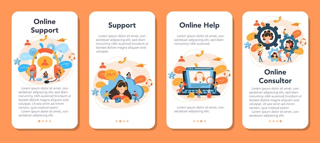 Technical support mobile application banner set. idea of customer service. consultant support clients and help them with problems. providing customer with valuable information.