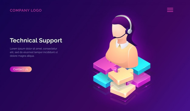 Technical support or online assistant isometric