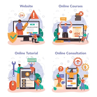 기술 지원 온라인 서비스 또는 플랫폼 집합입니다. 기술적인 문제에 대한 컨설턴트 도움, 설정 정보 제공. 온라인 상담, 튜토리얼, 코스, 웹사이트. 평면 벡터 일러스트 레이 션