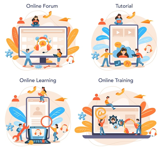 Technical support online service or platform set. idea of customer service. providing customer with valuable information. online forum, tutorial, learning, training.