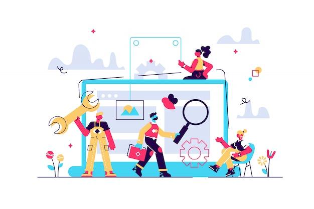 기술 지원, 프로그래밍 및 코딩. 웹 사이트 유지 관리, 웹 사이트 유지 관리 서비스, 업데이트 및 사이트 개념 유지. 밝고 활기찬 보라색 고립 된 그림