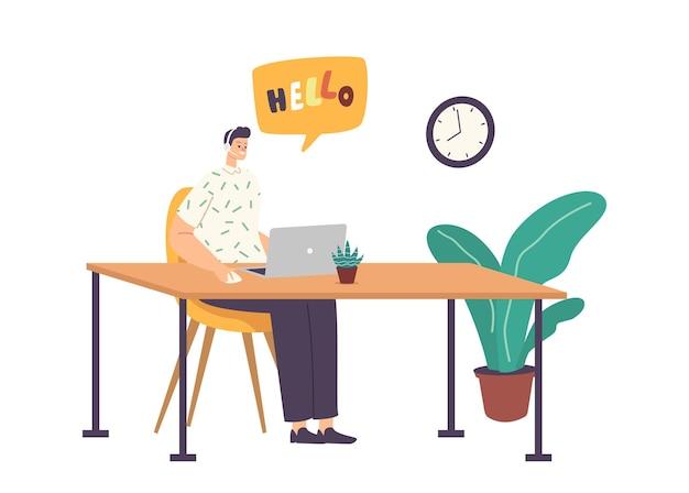 기술 지원 전문가가 온라인으로 클라이언트 문제를 해결합니다. 핫라인 콜센터. 헤드셋의 고객 서비스 직원은 컴퓨터에서 작업합니다. 운영자 및 클라이언트 통신. 만화 벡터 일러스트 레이 션