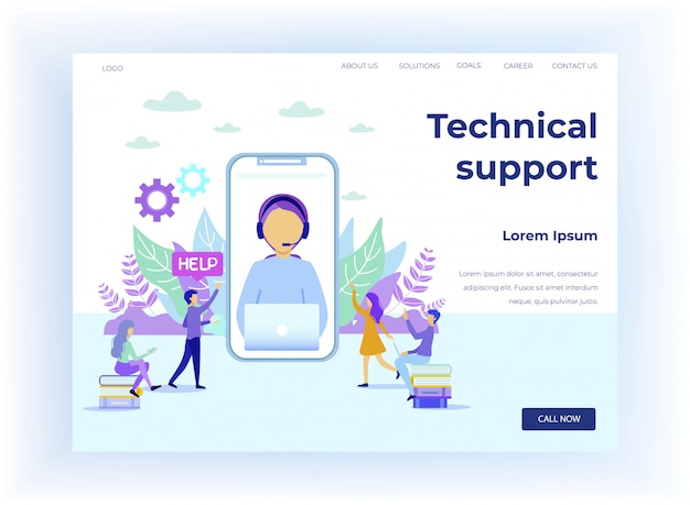 Technical support for student cartoon landing page