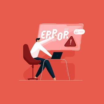 Technical support team correcting error service error and page not found concept