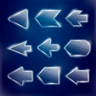 Technical translucent arrows set  on blue background