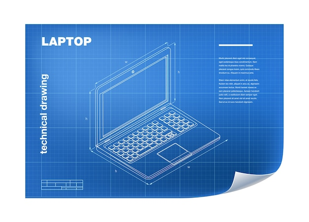 Technical wireframe illustration with laptop drawing
