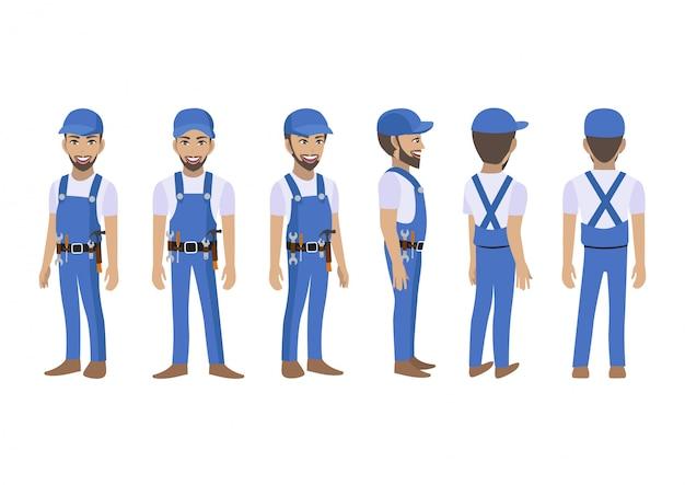 Техник-строитель и механик мультипликационный персонаж для анимации