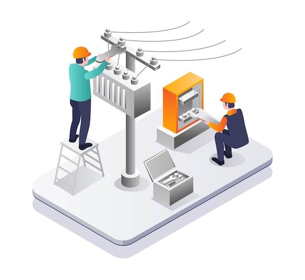 Technician repairing electrical panels