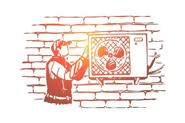 Technician repairing fan, handyman in peaked cap installing conditioner illustration