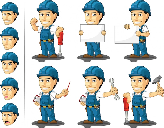Technician or repairman customizable mascot