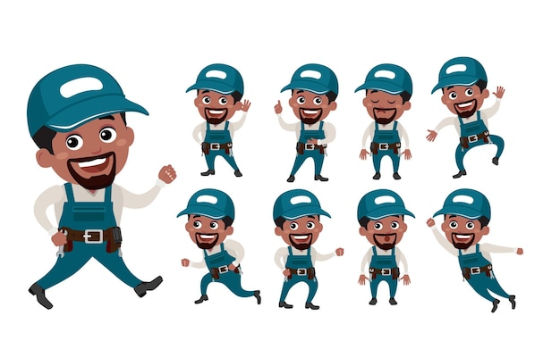 Technician with different poses vector