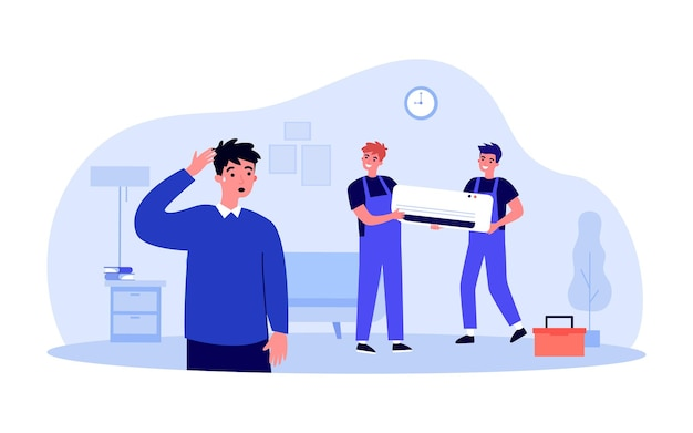 Technicians installing air conditioning system for sweaty man. apartment owner and repairmen holding air conditioner flat vector illustration. home appliances, maintenance service concept for banner
