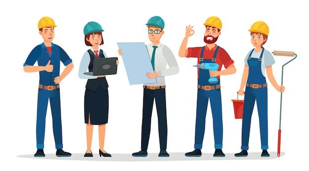 技術者グループ、エンジニアリングワーカー、建設。
