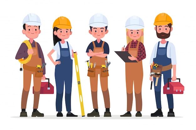 기술자 사람들 그룹, 엔지니어링 작업자 및 건설
