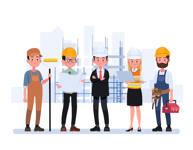 Technicians people group, engineering worker and construction.
