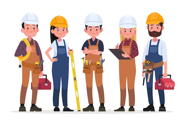 Technicians people group, engineering worker and construction