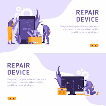 Техники ремонтируют большой сломанный смартфон с помощью отвертки, гаечного ключа и ноутбука. ремонт смартфонов, сотовый телефон, концепция ремонта в тот же день. изометрическая 3d-шаблон сайта