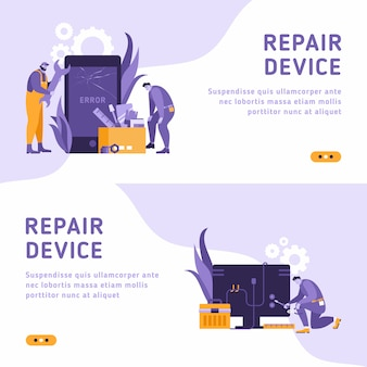Technicians repair big broken smartphone with screwdriver, wrench and laptop. smartphone repair, cell phone service, same day repair concept. isometric 3d website app landing web page template