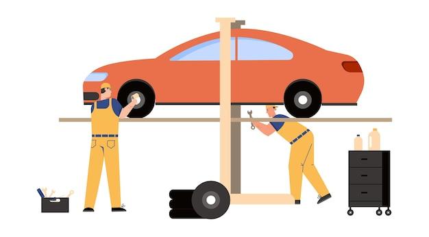 Technicians team working in car service and repair scene.