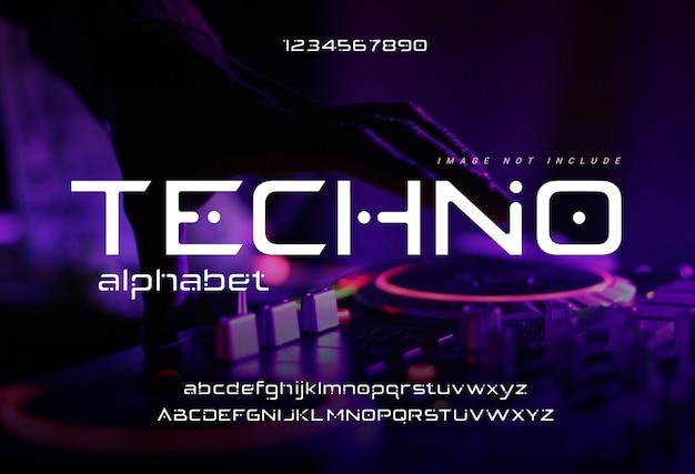 「テクノ」デジタルミュージックバックグラウンドを使用した抽象的なデジタルモダンアルファベットフォント